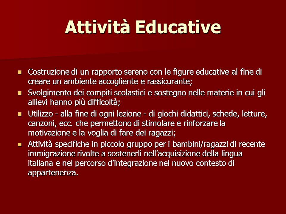 Attività Educative Costruzione di un rapporto sereno con le figure educative al fine di creare un ambiente accogliente e rassicurante;