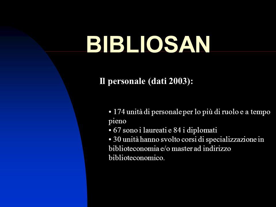 BIBLIOSAN Il personale (dati 2003):