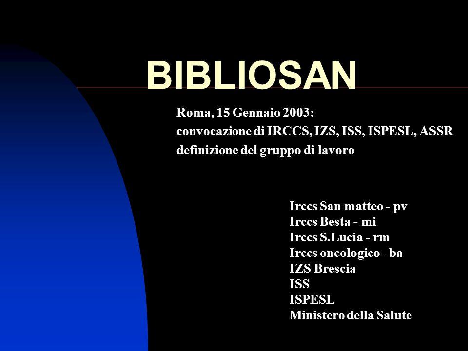 BIBLIOSAN Roma, 15 Gennaio 2003:
