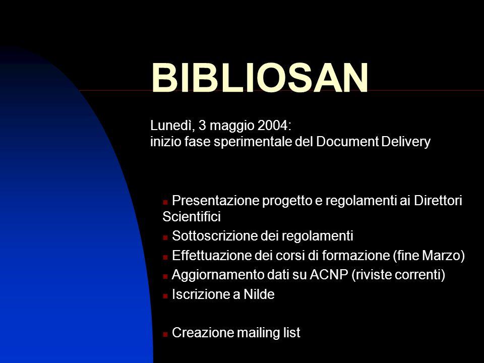 BIBLIOSAN Lunedì, 3 maggio 2004: