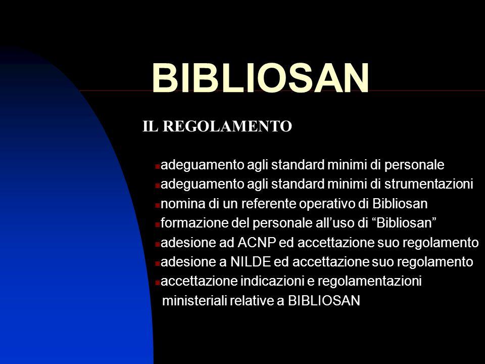 BIBLIOSAN IL REGOLAMENTO adeguamento agli standard minimi di personale