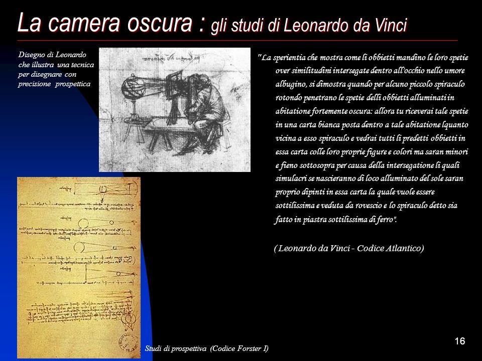 La camera oscura : gli studi di Leonardo da Vinci