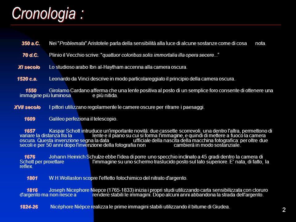 Cronologia :350 a.C. Nei Problemata Aristotele parla della sensibilità alla luce di alcune sostanze come di cosa nota.