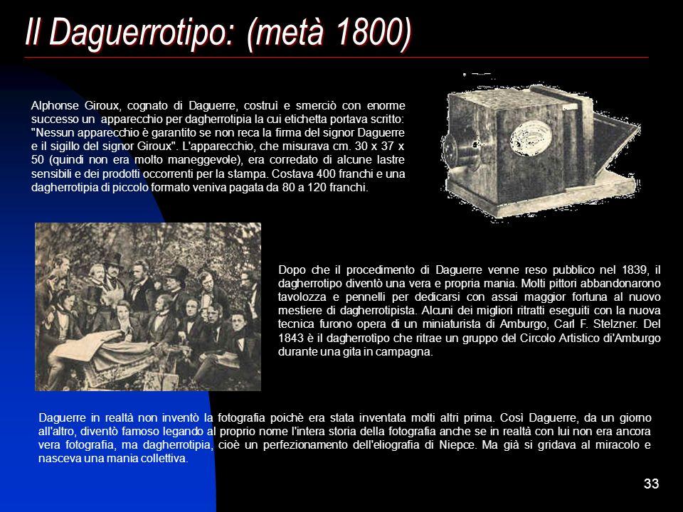 Il Daguerrotipo: (metà 1800)