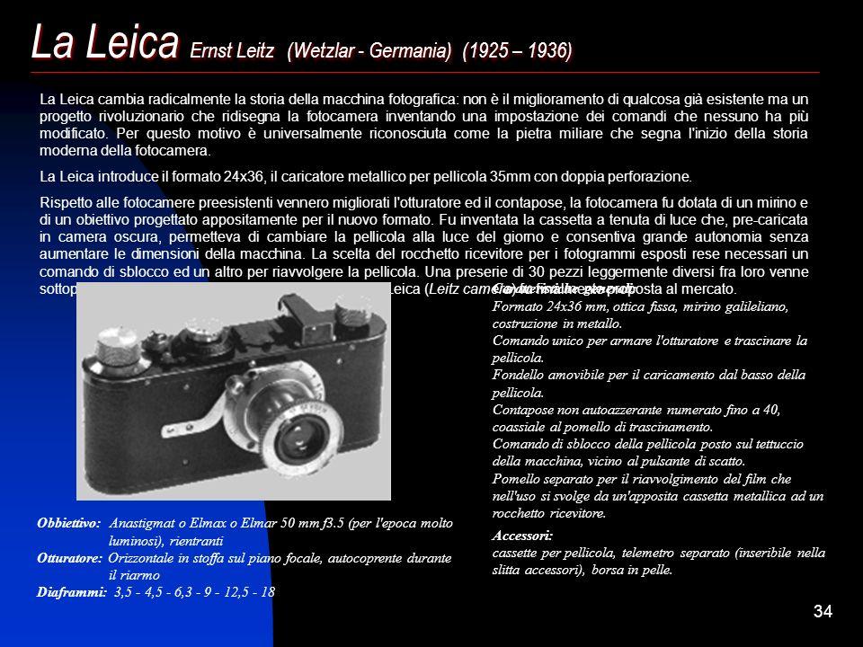 La Leica Ernst Leitz (Wetzlar - Germania) (1925 – 1936)