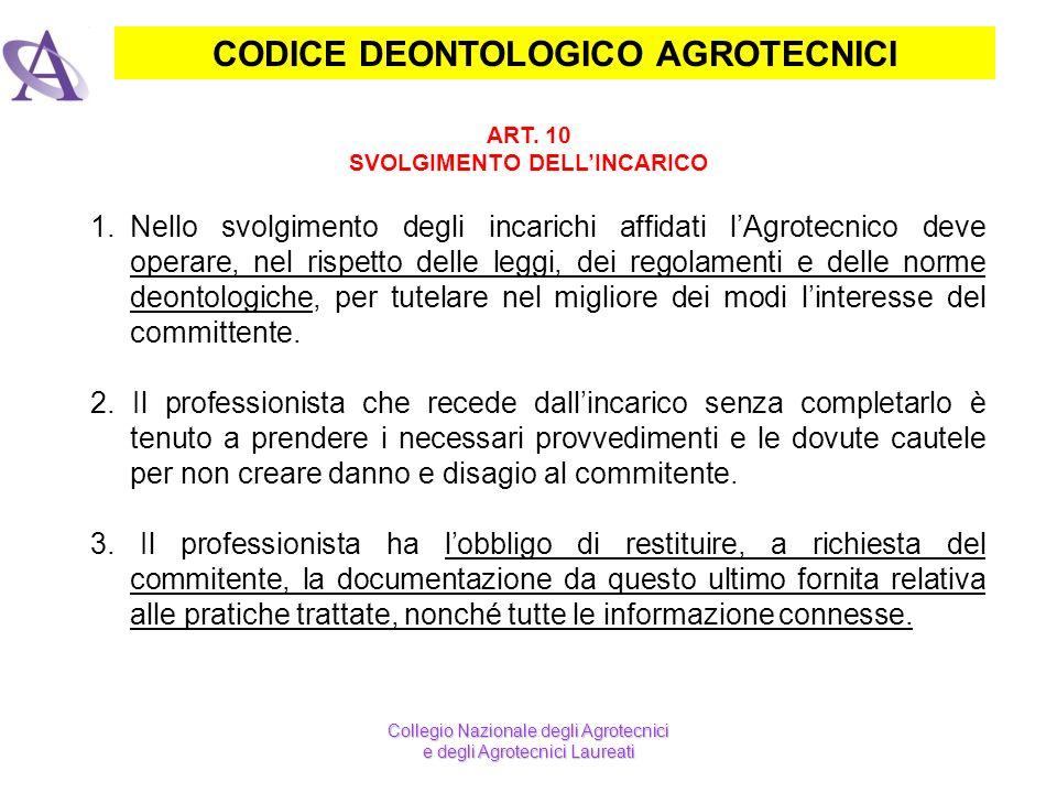 CODICE DEONTOLOGICO AGROTECNICI SVOLGIMENTO DELL'INCARICO