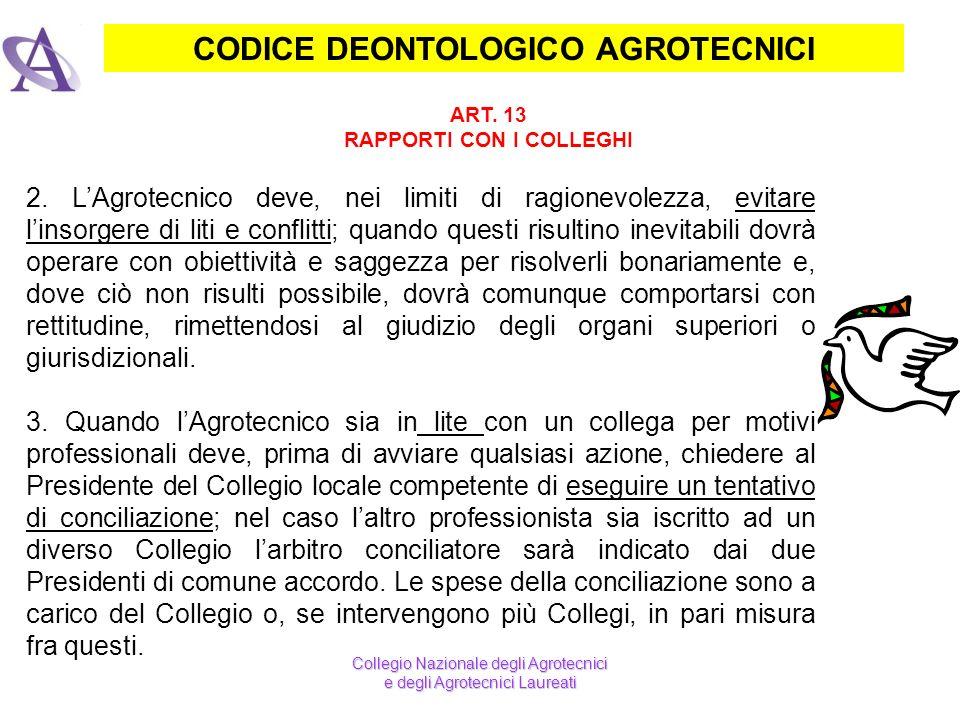 CODICE DEONTOLOGICO AGROTECNICI RAPPORTI CON I COLLEGHI