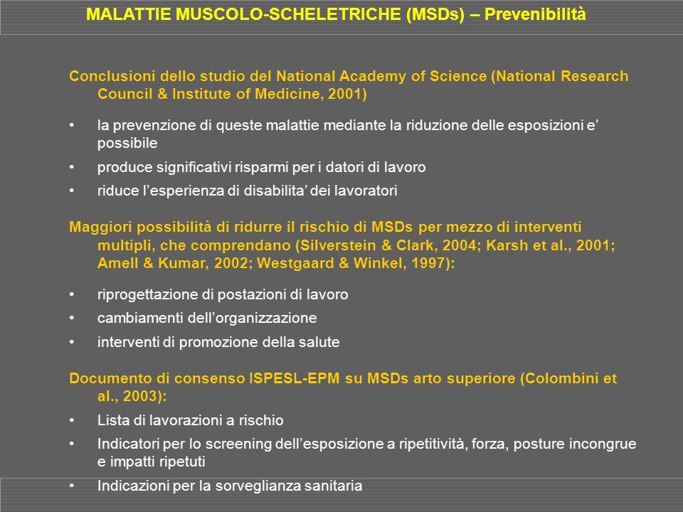 MALATTIE MUSCOLO-SCHELETRICHE (MSDs) – Prevenibilità
