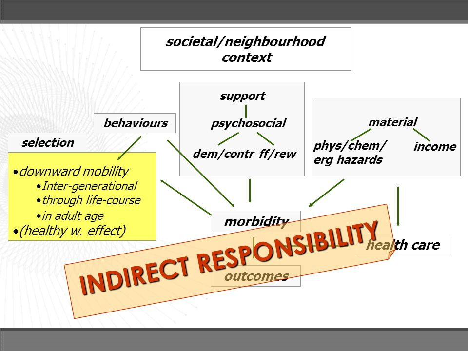 societal/neighbourhood INDIRECT RESPONSIBILITY