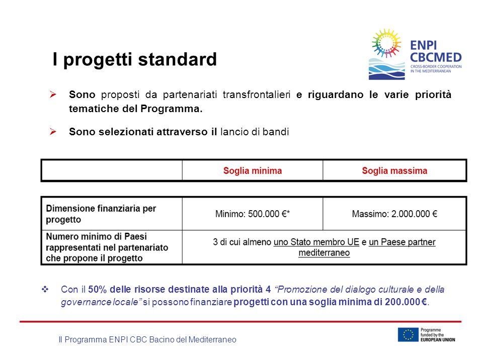 I progetti standard Sono proposti da partenariati transfrontalieri e riguardano le varie priorità tematiche del Programma.