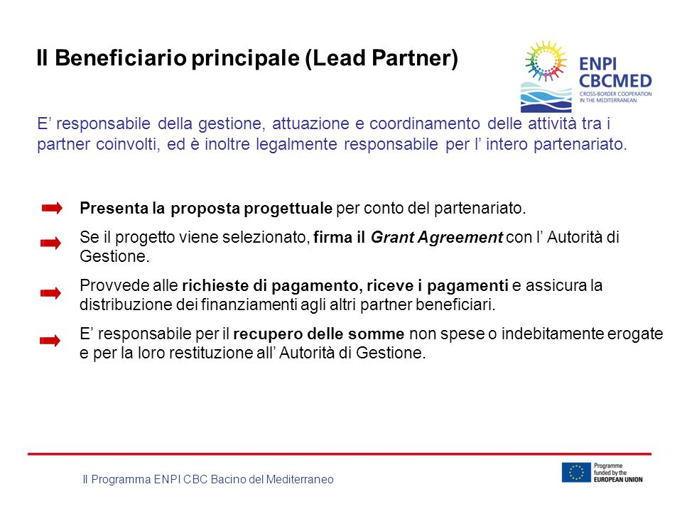 Il Beneficiario principale (Lead Partner)