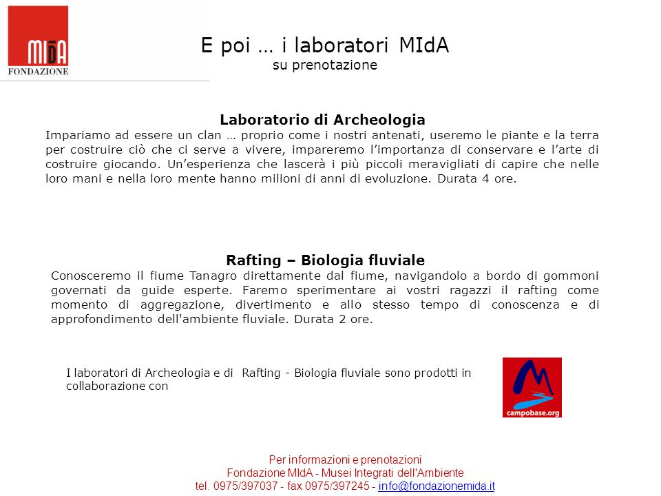 Laboratorio di Archeologia Rafting – Biologia fluviale