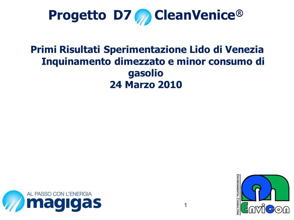 Progetto D7 CleanVenice® Primi Risultati Sperimentazione Lido di Venezia Inquinamento dimezzato e minor consumo di gasolio 24 Marzo 2010