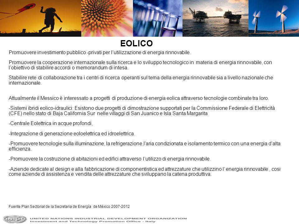 EOLICO Promuovere investimento pubblico -privati per l'utilizzazione di energia rinnovabile.