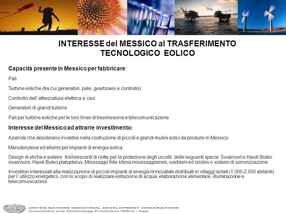 INTERESSE del MESSICO al TRASFERIMENTO TECNOLOGICO EOLICO