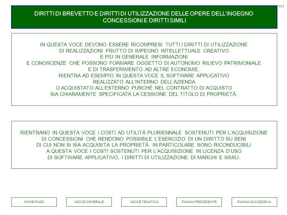 111 DIRITTI DI BREVETTO E DIRITTI DI UTILIZZAZIONE DELLE OPERE DELL'INGEGNO CONCESSIONI E DIRITTI SIMILI.