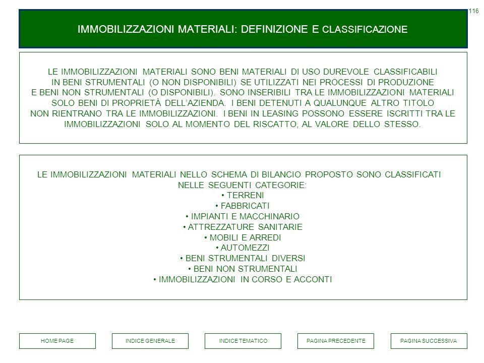 IMMOBILIZZAZIONI MATERIALI: DEFINIZIONE E CLASSIFICAZIONE