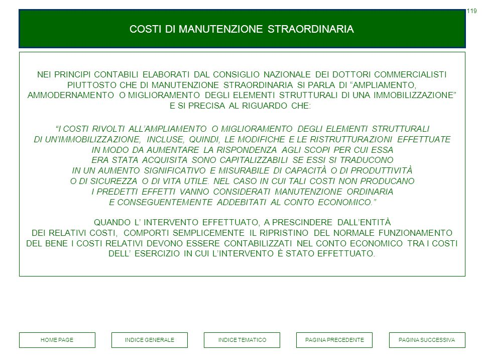 COSTI DI MANUTENZIONE STRAORDINARIA