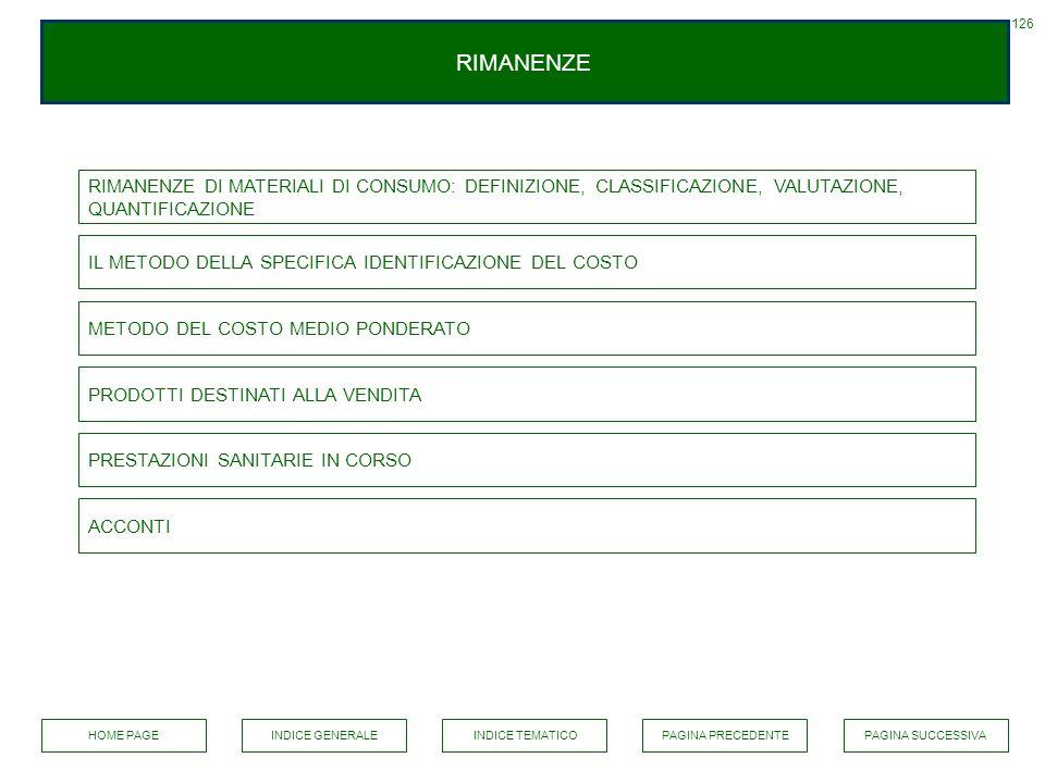 126 RIMANENZE. RIMANENZE DI MATERIALI DI CONSUMO: DEFINIZIONE, CLASSIFICAZIONE, VALUTAZIONE, QUANTIFICAZIONE.