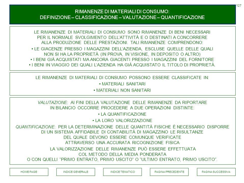 127 RIMANENZE DI MATERIALI DI CONSUMO: DEFINIZIONE – CLASSIFICAZIONE – VALUTAZIONE – QUANTIFICAZIONE.