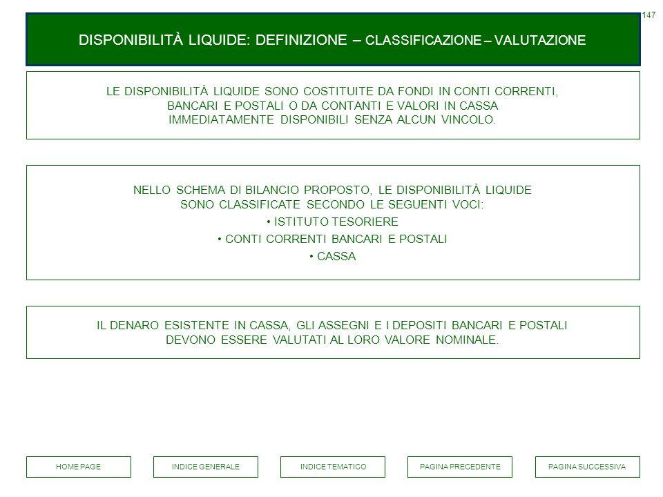 DISPONIBILITÀ LIQUIDE: DEFINIZIONE – CLASSIFICAZIONE – VALUTAZIONE