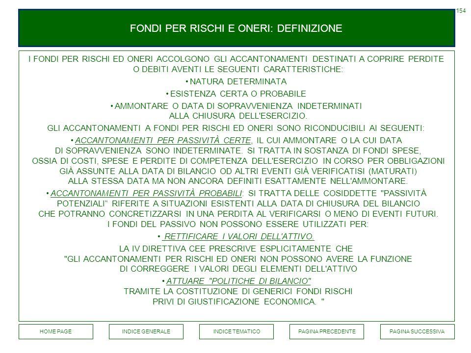 FONDI PER RISCHI E ONERI: DEFINIZIONE