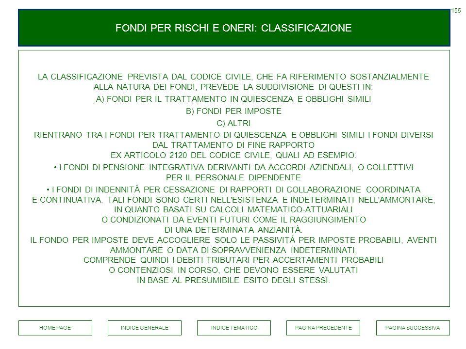 FONDI PER RISCHI E ONERI: CLASSIFICAZIONE