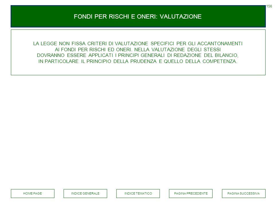 FONDI PER RISCHI E ONERI: VALUTAZIONE