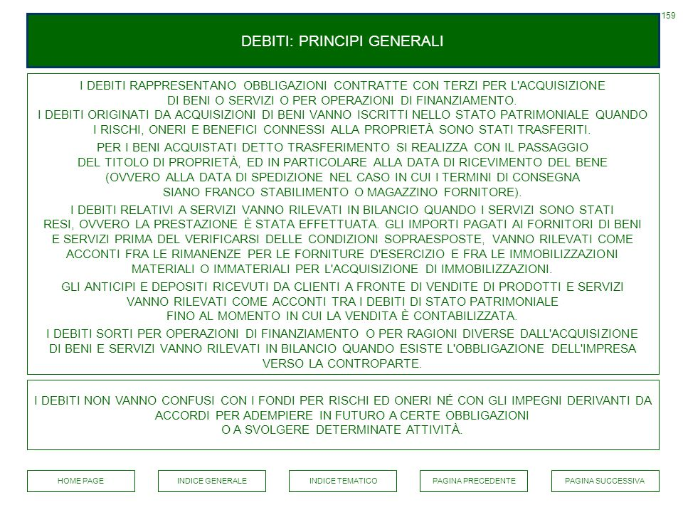 DEBITI: PRINCIPI GENERALI