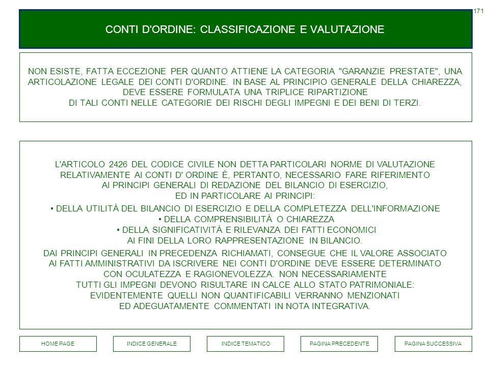 CONTI D ORDINE: CLASSIFICAZIONE E VALUTAZIONE