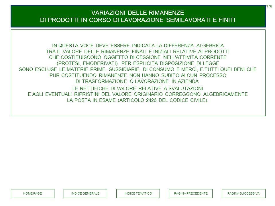 178 VARIAZIONI DELLE RIMANENZE DI PRODOTTI IN CORSO DI LAVORAZIONE SEMILAVORATI E FINITI.