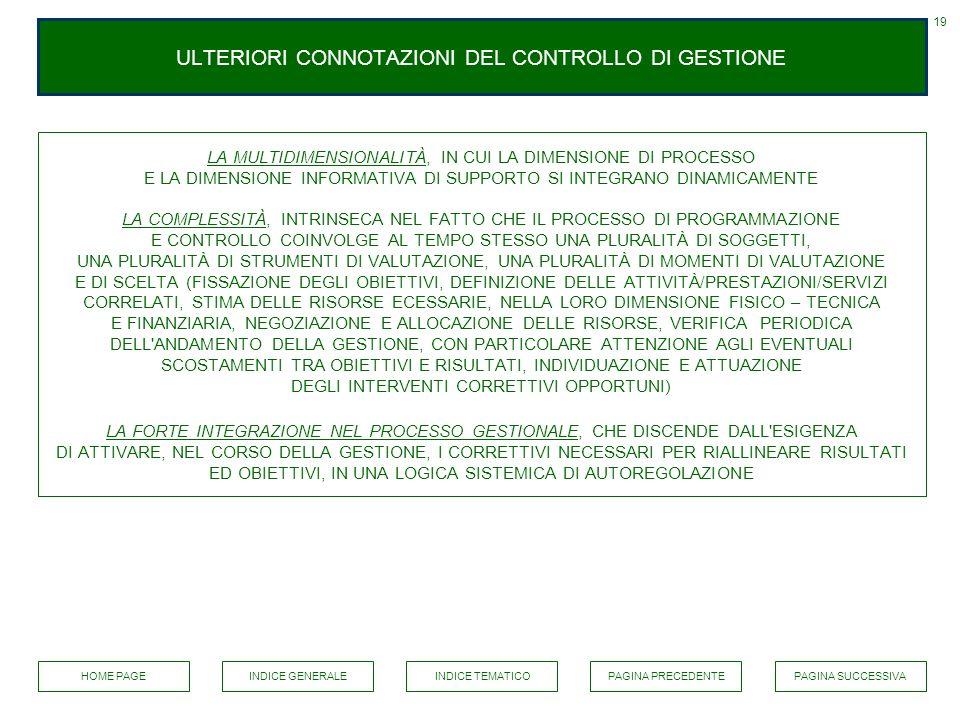 ULTERIORI CONNOTAZIONI DEL CONTROLLO DI GESTIONE
