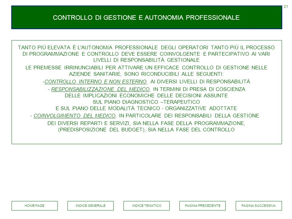 CONTROLLO DI GESTIONE E AUTONOMIA PROFESSIONALE