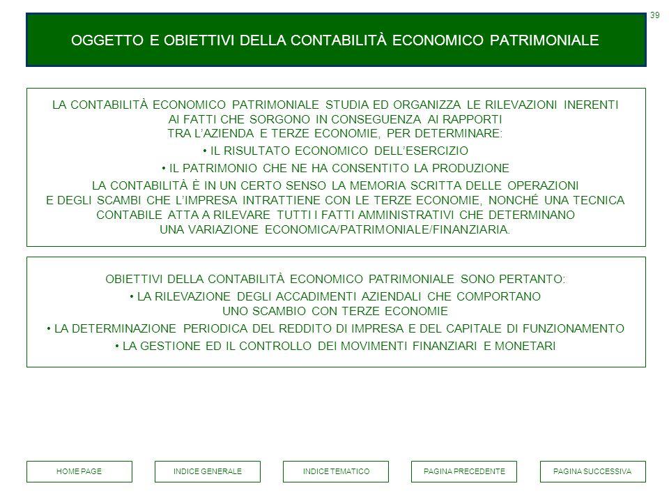 OGGETTO E OBIETTIVI DELLA CONTABILITÀ ECONOMICO PATRIMONIALE