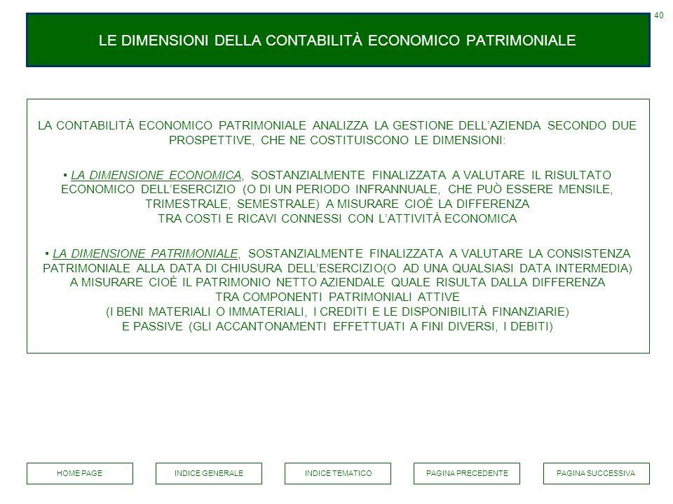 LE DIMENSIONI DELLA CONTABILITÀ ECONOMICO PATRIMONIALE