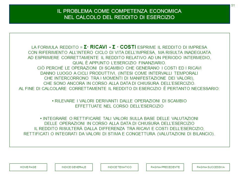 51 IL PROBLEMA COME COMPETENZA ECONOMICA NEL CALCOLO DEL REDDITO DI ESERCIZIO.
