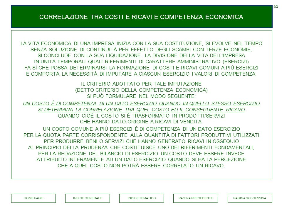 CORRELAZIONE TRA COSTI E RICAVI E COMPETENZA ECONOMICA