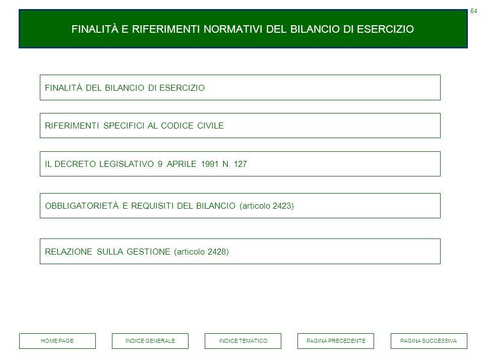 FINALITÀ E RIFERIMENTI NORMATIVI DEL BILANCIO DI ESERCIZIO