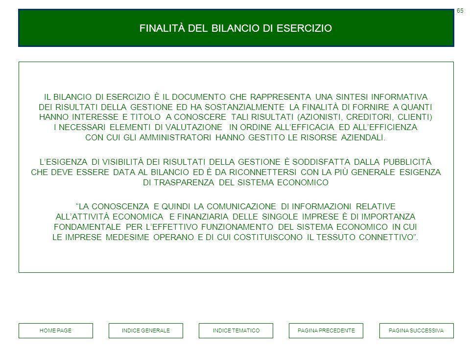 FINALITÀ DEL BILANCIO DI ESERCIZIO