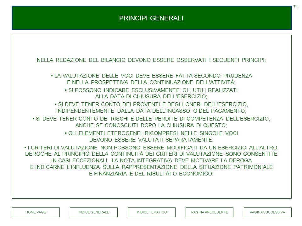 71 PRINCIPI GENERALI. NELLA REDAZIONE DEL BILANCIO DEVONO ESSERE OSSERVATI I SEGUENTI PRINCIPI: