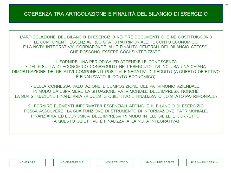 COERENZA TRA ARTICOLAZIONE E FINALITÀ DEL BILANCIO DI ESERCIZIO