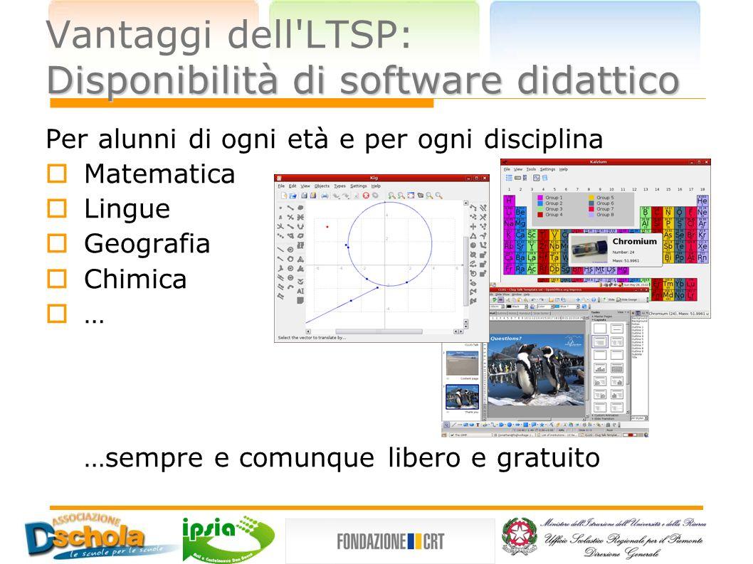 Vantaggi dell LTSP: Disponibilità di software didattico