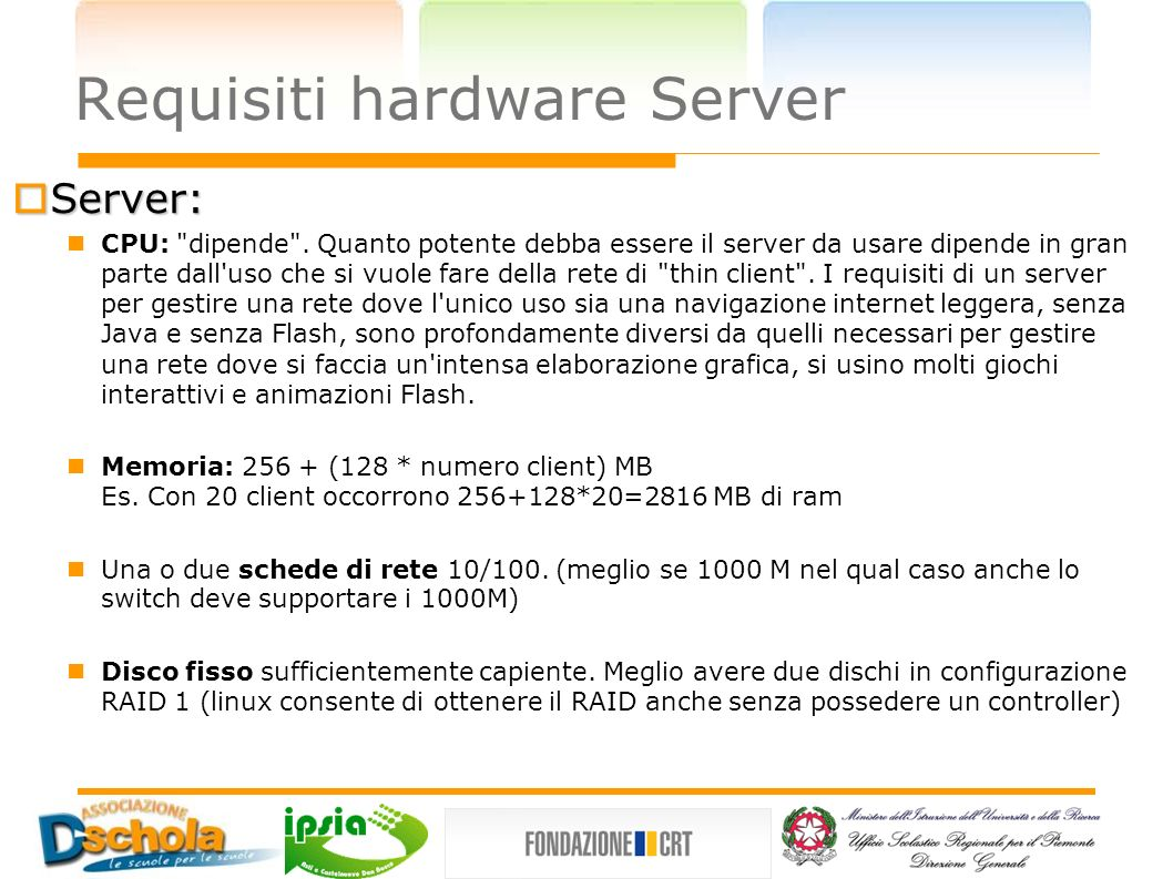 Requisiti hardware Server