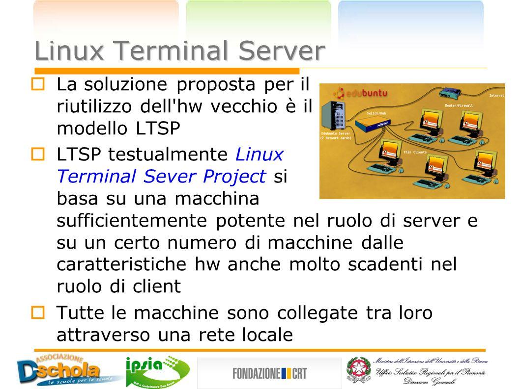 Linux Terminal Server La soluzione proposta per il riutilizzo dell hw vecchio è il modello LTSP.