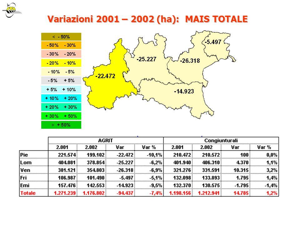 Variazioni 2001 – 2002 (ha): MAIS TOTALE