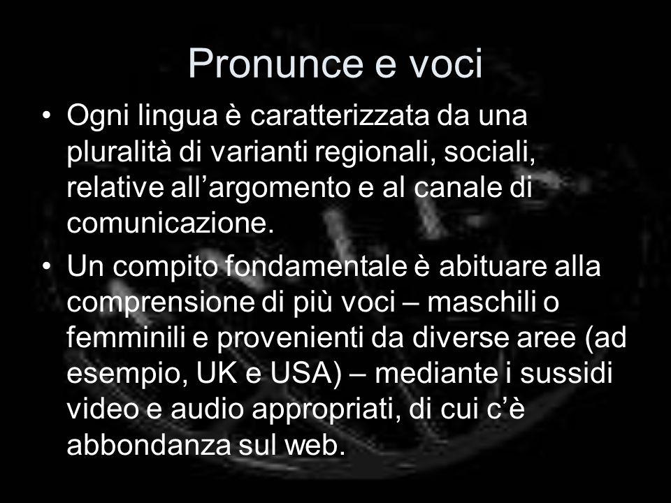 Pronunce e voci Ogni lingua è caratterizzata da una pluralità di varianti regionali, sociali, relative all'argomento e al canale di comunicazione.