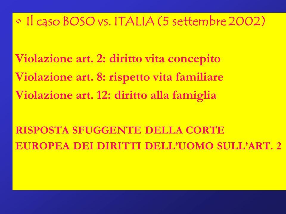 Il caso BOSO vs. ITALIA (5 settembre 2002)