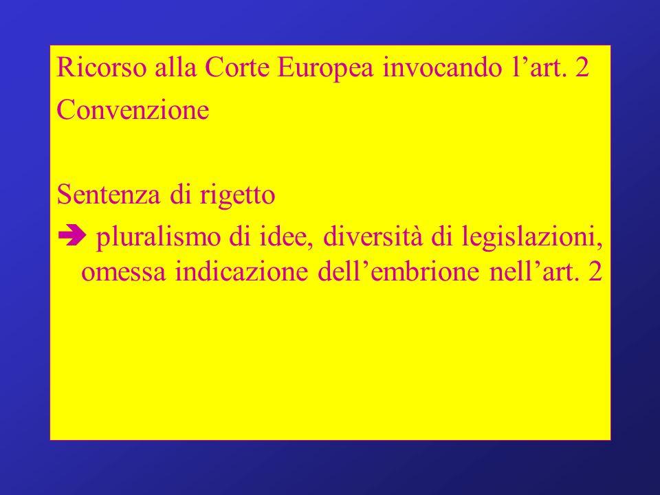 Ricorso alla Corte Europea invocando l'art. 2