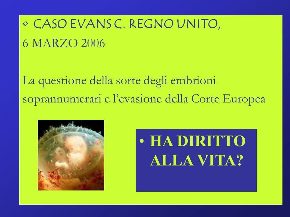 HA DIRITTO ALLA VITA CASO EVANS C. REGNO UNITO, 6 MARZO 2006