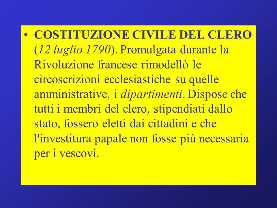 COSTITUZIONE CIVILE DEL CLERO (12 luglio 1790)